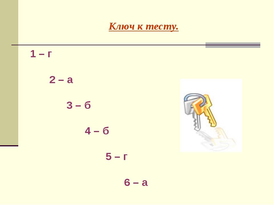 Ключ к тесту. 1 – г  2 – а  3 – б 4 – б  5 – г  6 – а