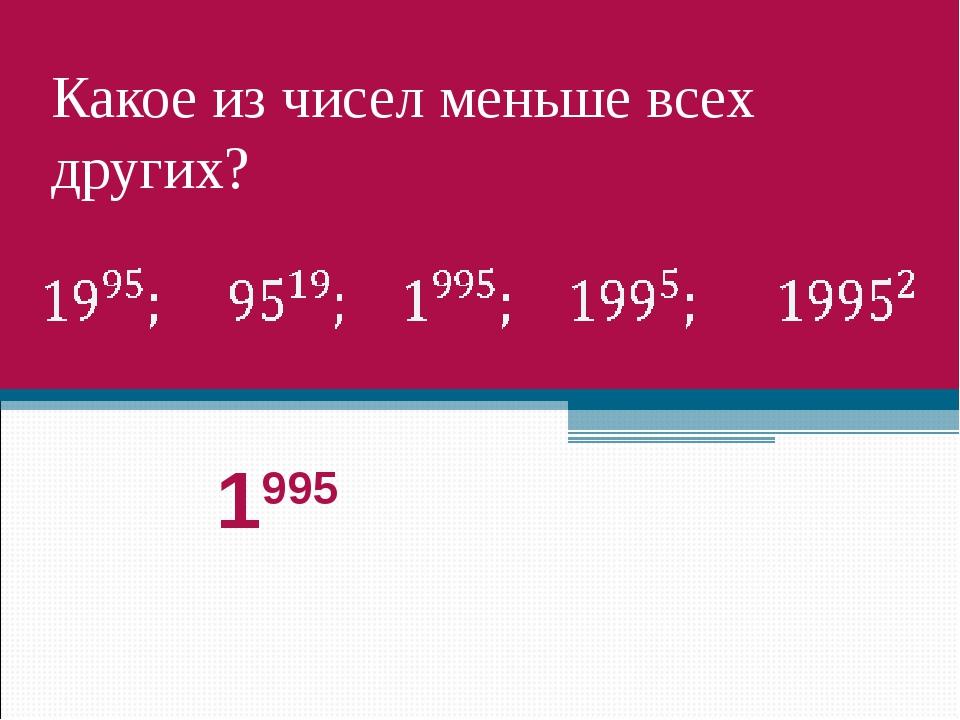 Какое из чисел меньше всех других? 1995