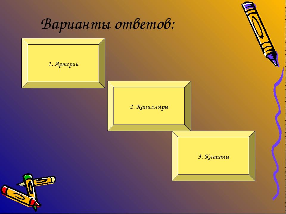 Варианты ответов: 2. Капилляры 1. Артерии 3. Клапаны