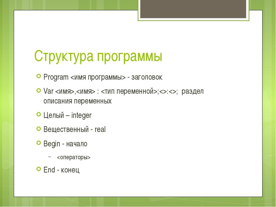 Структура программы Program  - заголовок Var , : ;:; раздел описания переменн...