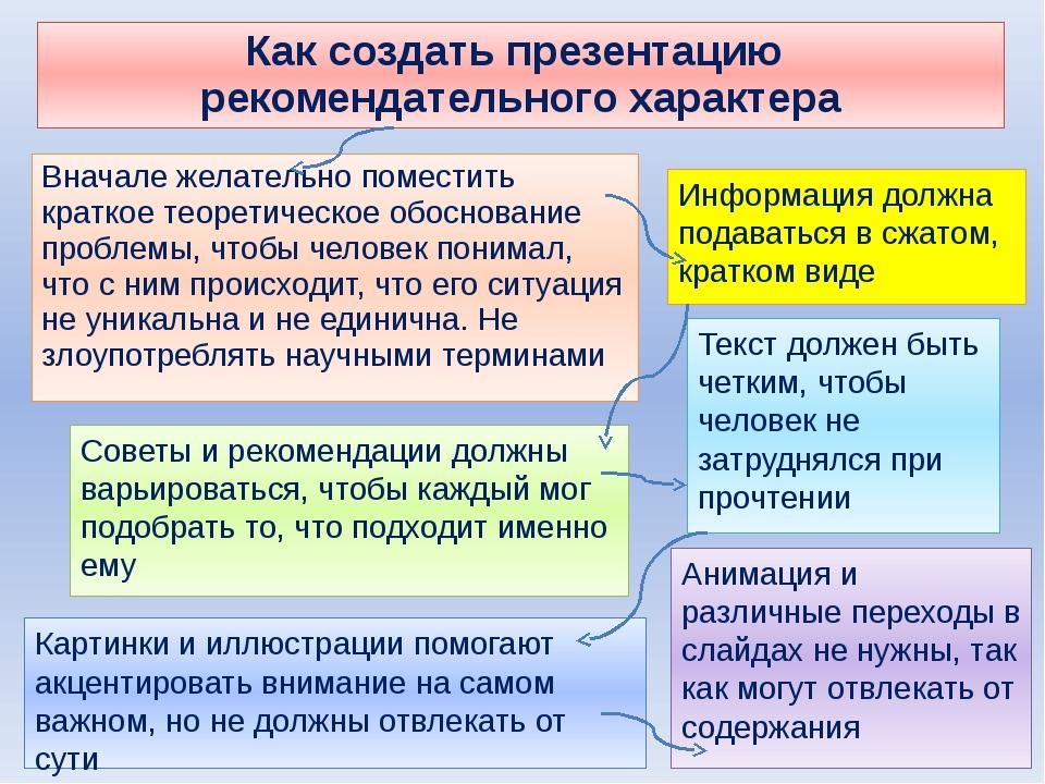 Как создать презентацию рекомендательного характера Вначале желательно помест...