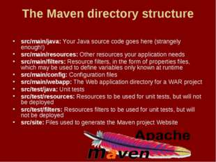 The Maven directory structure src/main/java: Your Java source code goes here
