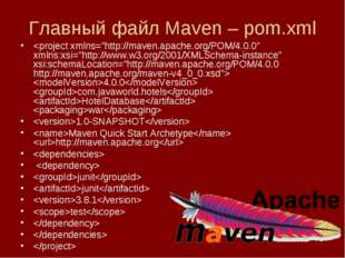 Главный файл Maven – pom.xml  4.0.0 com.javaworld.hotels HotelDatabase war 1.