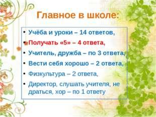 Главное в школе: Учёба и уроки – 14 ответов, Получать «5» – 4 ответа, Учитель
