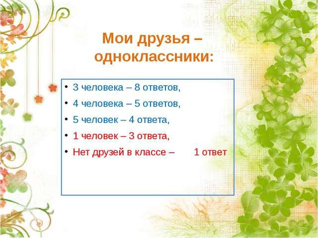 Мои друзья – одноклассники: 3 человека – 8 ответов, 4 человека – 5 ответов, 5...