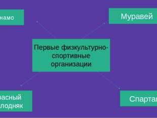 Первые физкультурно- спортивные организации Муравей Спартак Динамо Красный мо