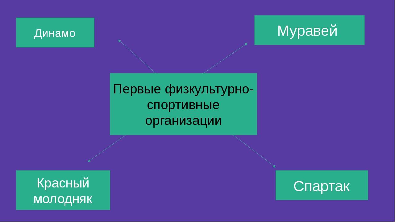 Первые физкультурно- спортивные организации Муравей Спартак Динамо Красный мо...