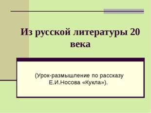 Из русской литературы 20 века (Урок-размышление по рассказу Е.И.Носова «Кукла