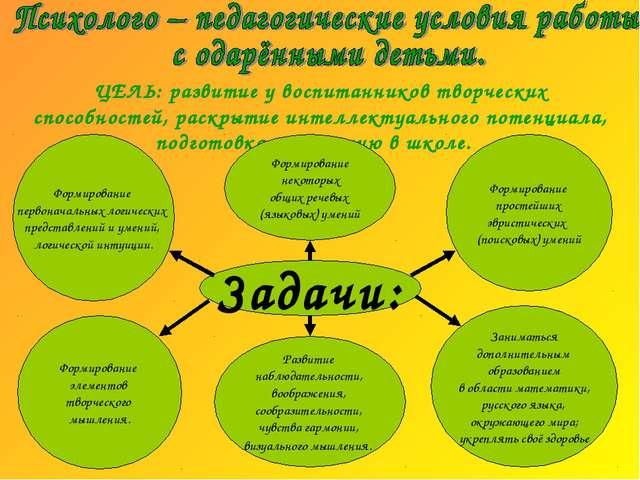ЦЕЛЬ: развитие у воспитанников творческих способностей, раскрытие интеллекту...