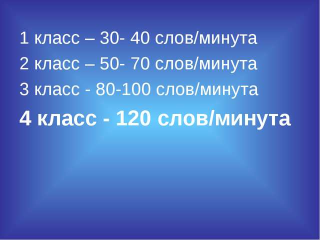 1 класс – 30- 40 слов/минута 2 класс – 50- 70 слов/минута 3 класс - 80-100 сл...