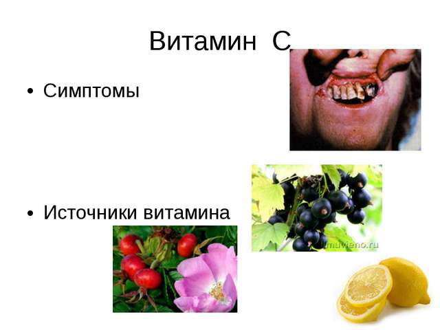 Витамин С Симптомы Источники витамина