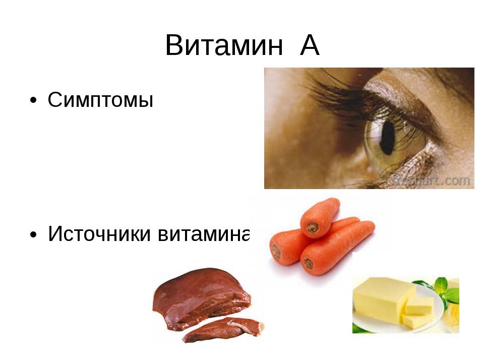 Витамин А Симптомы Источники витамина