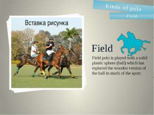 Field Field polo is played with a solid plastic sphere (ball) which has repla