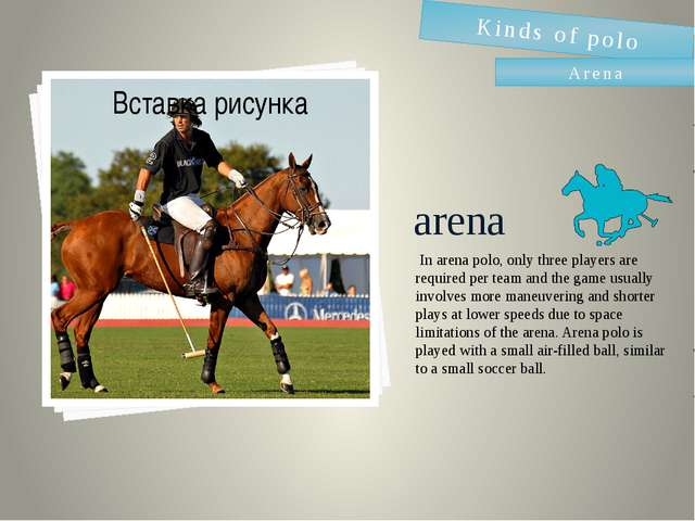 arena  In arena polo, only three players are required per team and the game u...