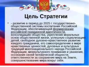 Цель Стратегии - развитие в период до 2025 г. государственно-общественной сис