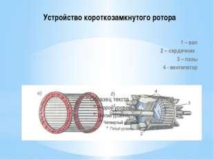 Устройство короткозамкнутого ротора 1 – вал 2 – сердечник 3 – пазы 4 - вентил