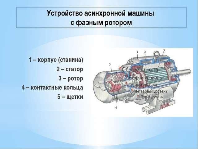 Устройство асинхронной машины с фазным ротором 1 – корпус (станина) 2 – стато...