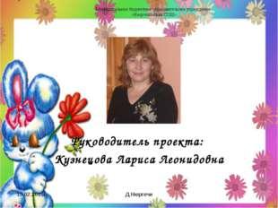 Руководитель проекта: Кузнецова Лариса Леонидовна 19.02.2015г. Д.Нюргечи Муни