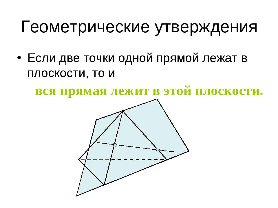 Геометрические утверждения Если две точки одной прямой лежат в плоскости, то...