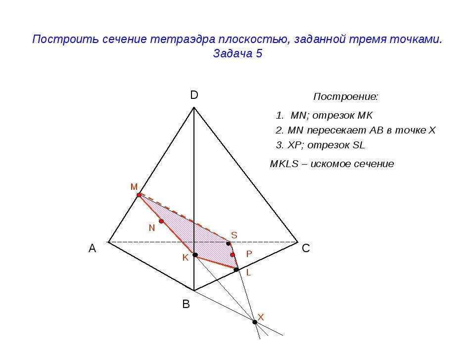 Построить сечение тетраэдра плоскостью, заданной тремя точками. Задача 5 Пост...