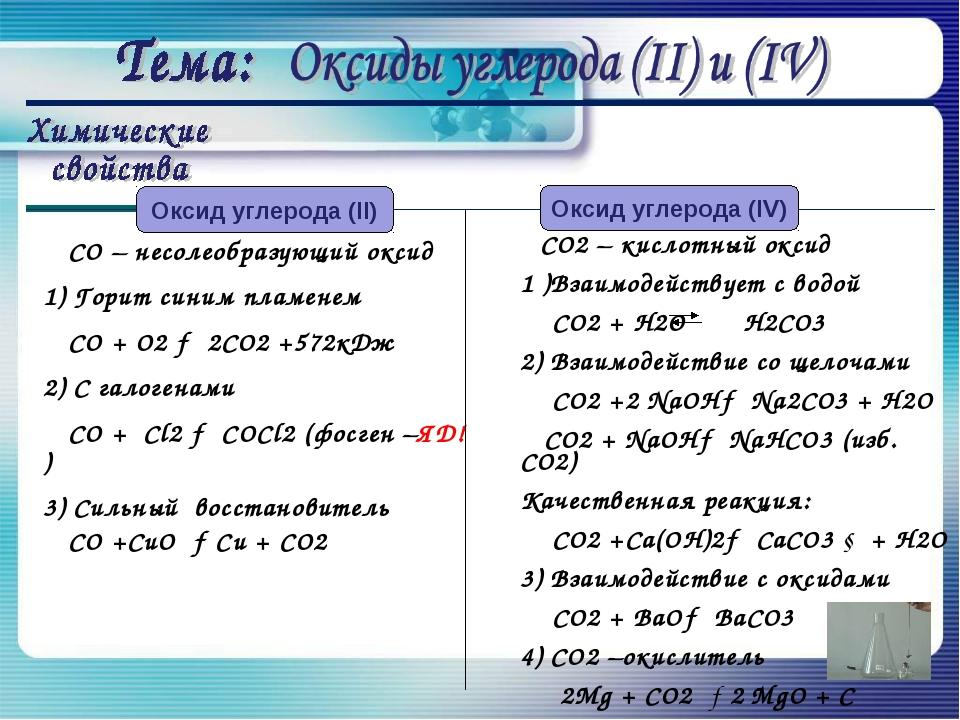 СО – несолеобразующий оксид 1) Горит синим пламенем СО + О2 → 2СО2 +572кДж 2...