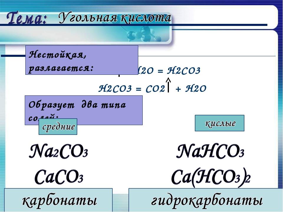 СО2 + Н2О = Н2СО3 Н2СО3 = СО2 + Н2О Образует два типа солей: Нестойкая, разла...