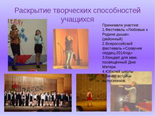 Раскрытие творческих способностей учащихся Принимали участие: 1.Фестиваль «Лю