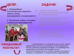 ЦЕЛИ : ЗАДАЧИ: ·создание условий для самовыражения детей, актуализации их л