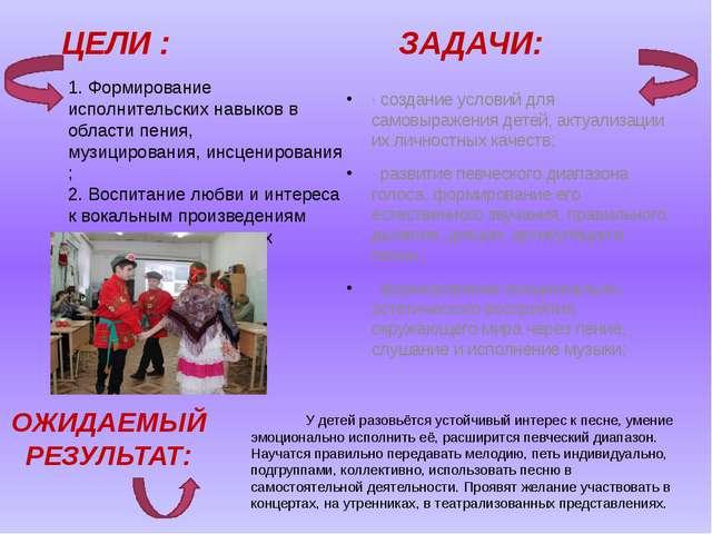 ЦЕЛИ : ЗАДАЧИ: ·создание условий для самовыражения детей, актуализации их л...