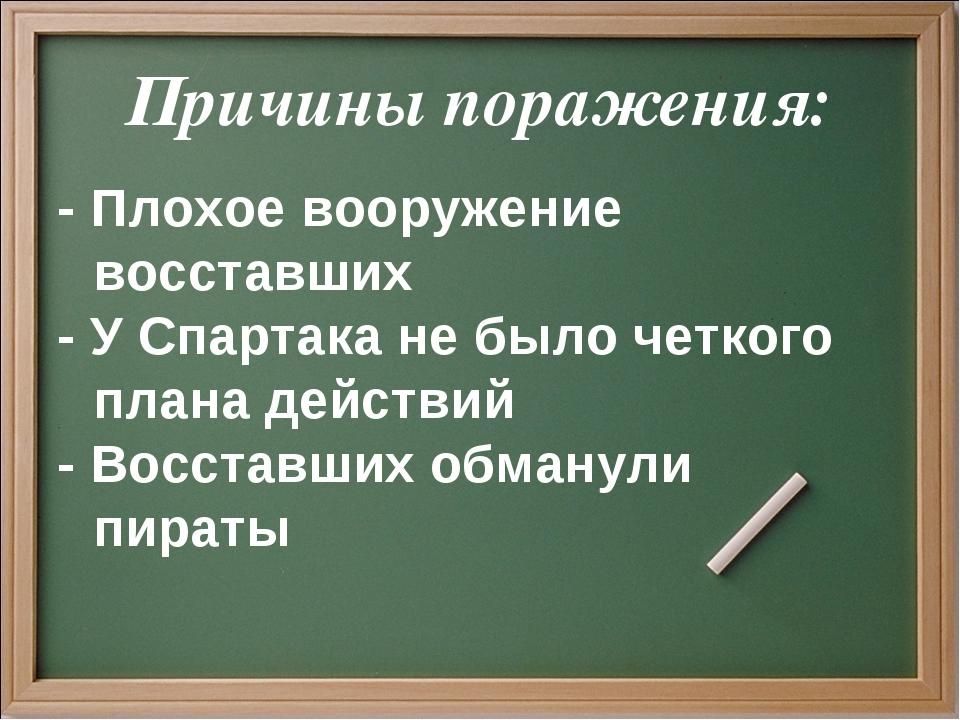 Причины поражения: - Плохое вооружение восставших - У Спартака не было четког...