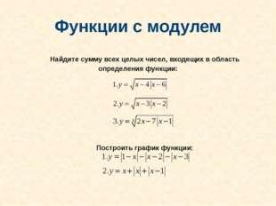 Функции с модулем Найдите сумму всех целых чисел, входящих в область определе