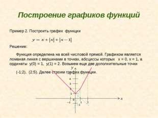 Построение графиков функций Пример 2. Построить график функции Решение: Функц
