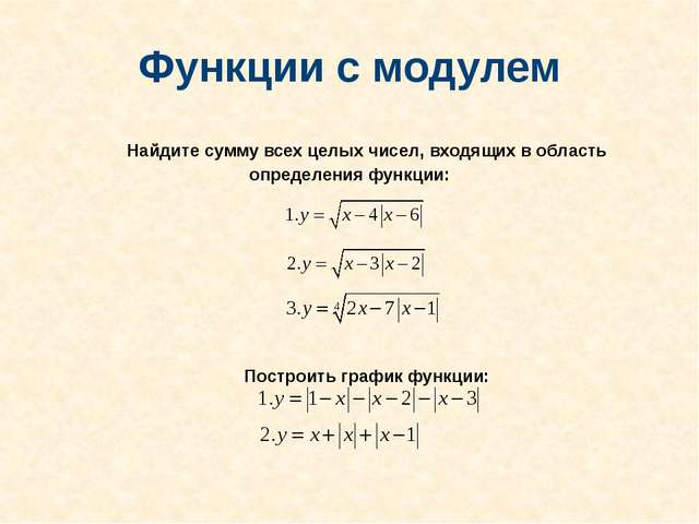 Функции с модулем Найдите сумму всех целых чисел, входящих в область определе...