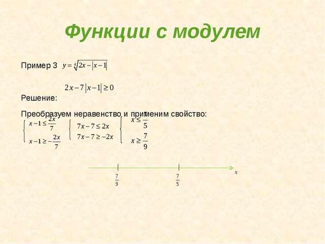 Функции с модулем Пример 3 Решение: Преобразуем неравенство и применим свойст...