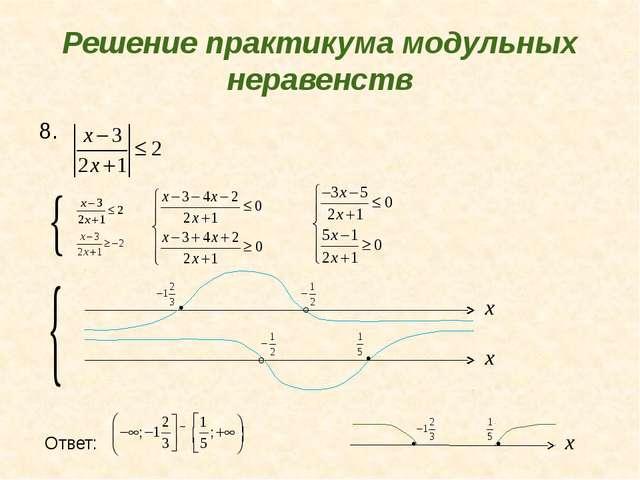 Решение практикума модульных неравенств 8. Ответ: