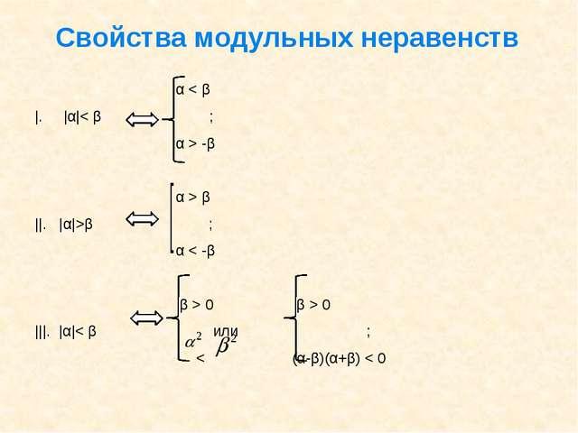Свойства модульных неравенств α < β  .  α < β ; α > -β α > β   .  α >β ; α <...