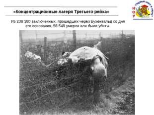 «Концентрационные лагеря Третьего рейха» Из 238 380 заключенных, прошедших че
