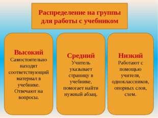 Распределение на группы для работы с учебником Низкий Работают с помощью учит