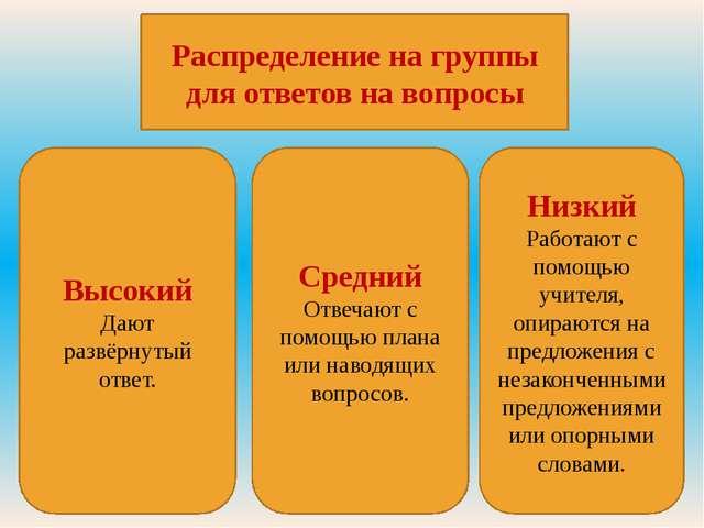 Распределение на группы для ответов на вопросы Низкий Работают с помощью учит...