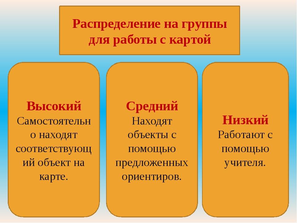 Распределение на группы для работы с картой Низкий Работают с помощью учителя...