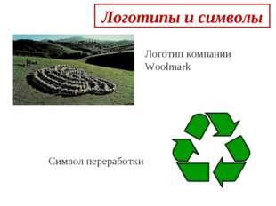 Логотипы и символы  Логотип компании Woolmark Символ переработки