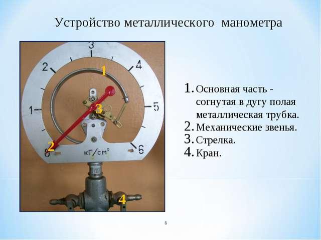 Устройство металлического манометра 1 2 3 Основная часть - согнутая в дугу по...