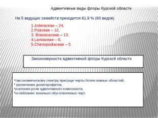 Адвентивные виды флоры Курской области На 5 ведущих семейств приходится 61,9