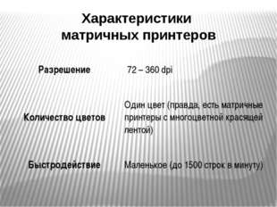Характеристики матричных принтеров Разрешение 72 – 360dpi Количество цветов О