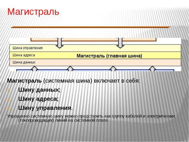 Магистраль Магистраль (системная шина) включает в себя: Шину данных; Шину адр...