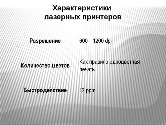 Характеристики лазерных принтеров Разрешение 600 – 1200dpi Количество цветов...