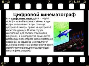 Цифровой кинематограф или «цифровое видео» (англ. digital video) – новый вид