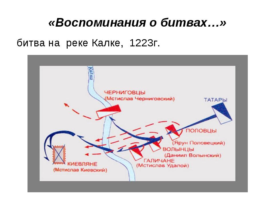 «Воспоминания о битвах…» битва на реке Калке, 1223г.