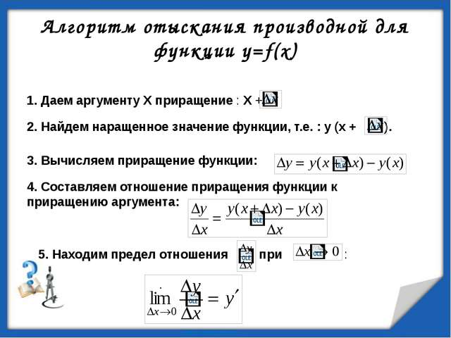 Пример вычисления производной Решение