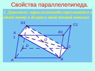 2. Диагонали параллелепипеда пересекаются в одной точке и делятся этой точко